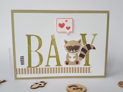 Babykarte - Stoffpapier - Foxy Friends - Karte - Geburtskarte