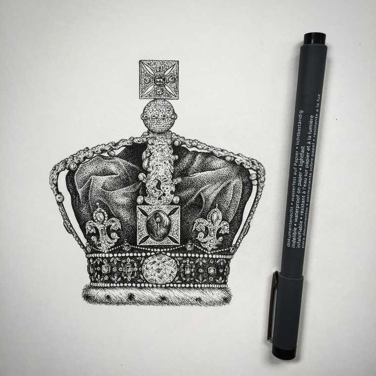 09-Crown-with-Jewels-Paul-Jackson-Star-Wars-Miniature-Drawings-www-designstack-co