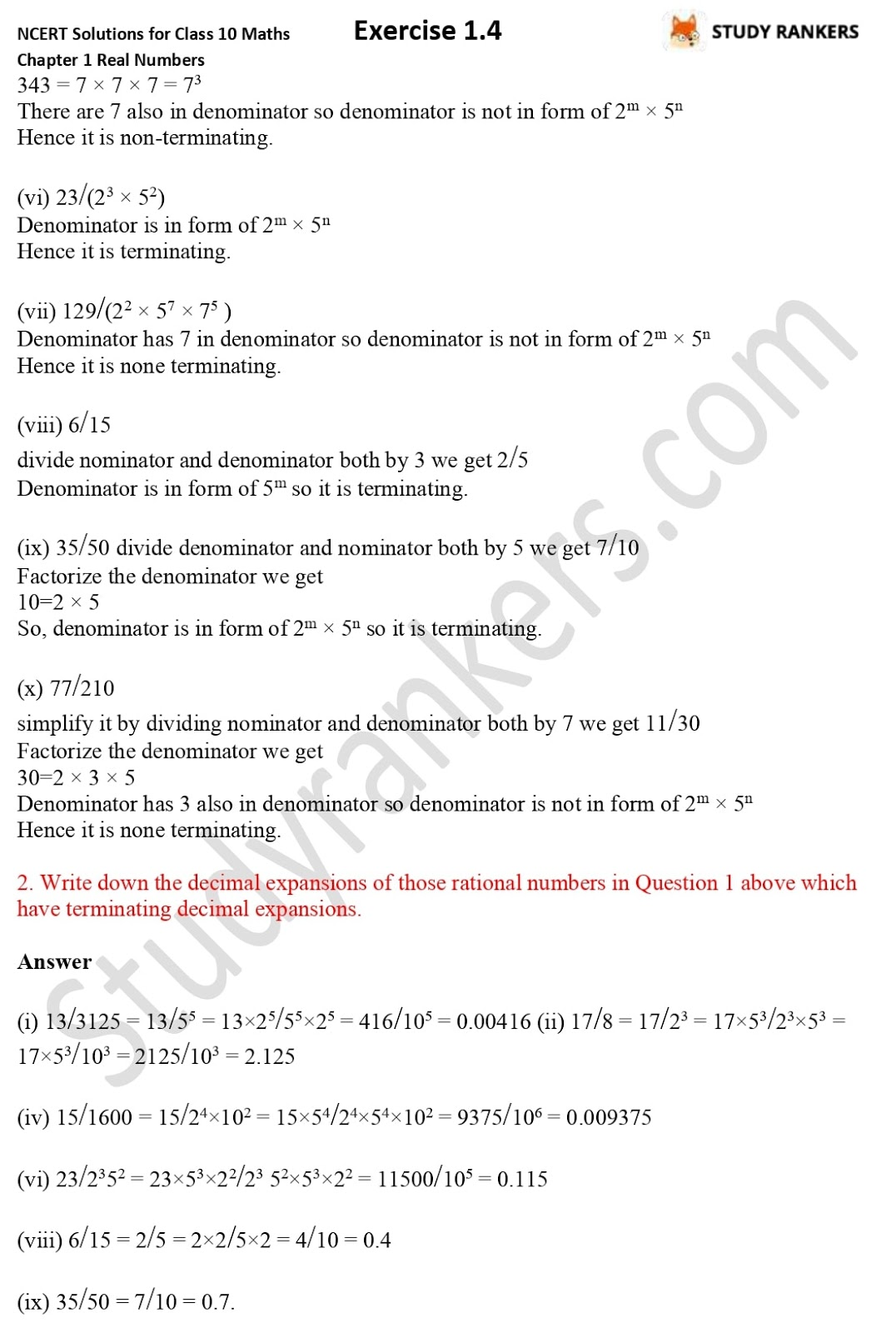 NCERT Solutions for Class 10 Maths Chapter 1 Real Numbers Exercise 1.4 2