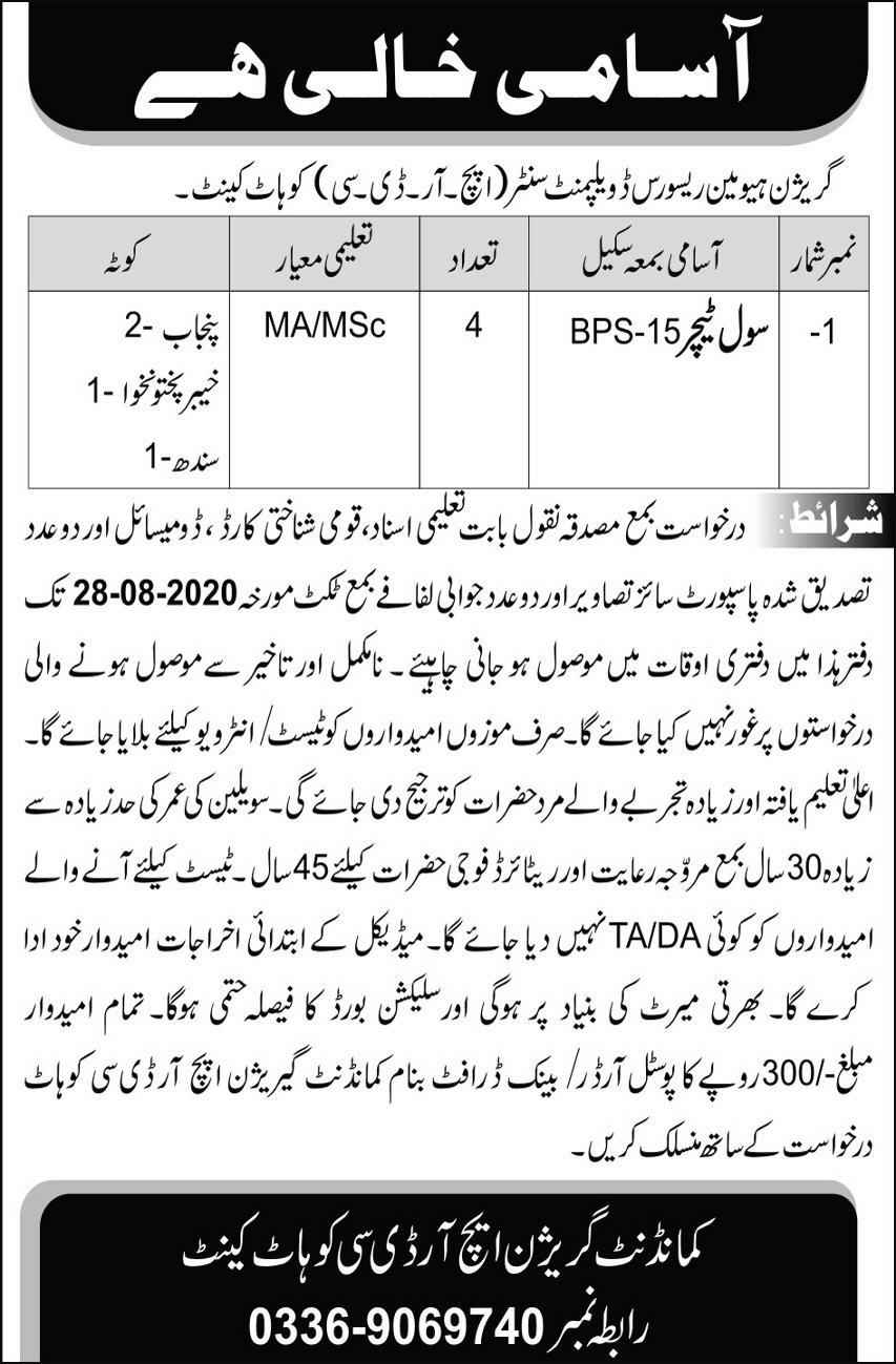 Teaching Jobs in Pak Army Human Resources Development Center (HRDC) Kohat Cantt Kohat 2020