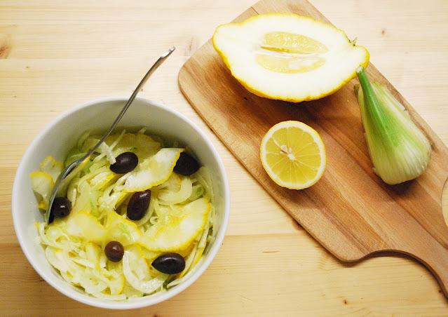 Salade cédrat fenouil olives