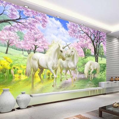 enhörningstapet tjejrum fototapet enhörning unicorn rosa träd ungdomstapet tjej