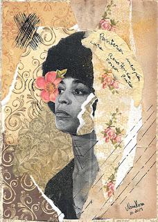 Imagem feita com colagem sobre Angela Davis, Por Maria Rosa