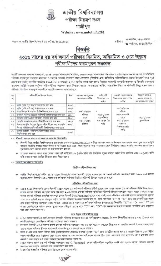 NU Honours 2nd Year form fill up notice 2016