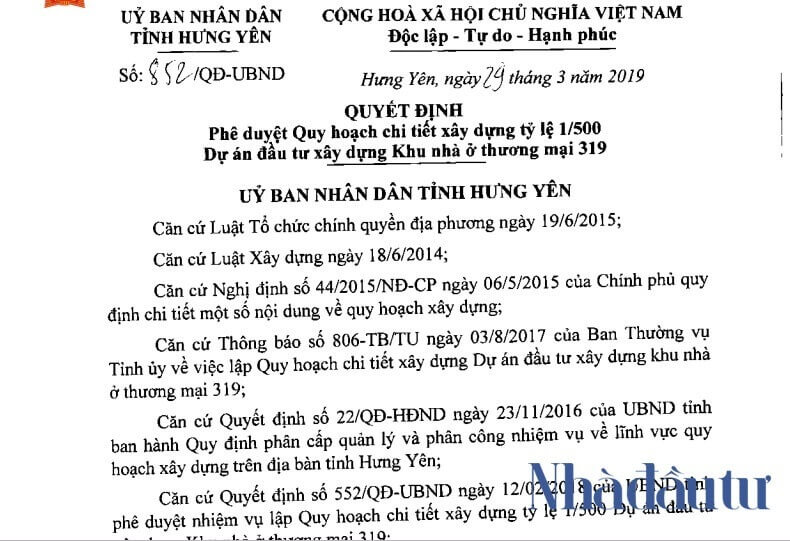 Quyết định phê duyệt dự án 319 Hưng Yên.