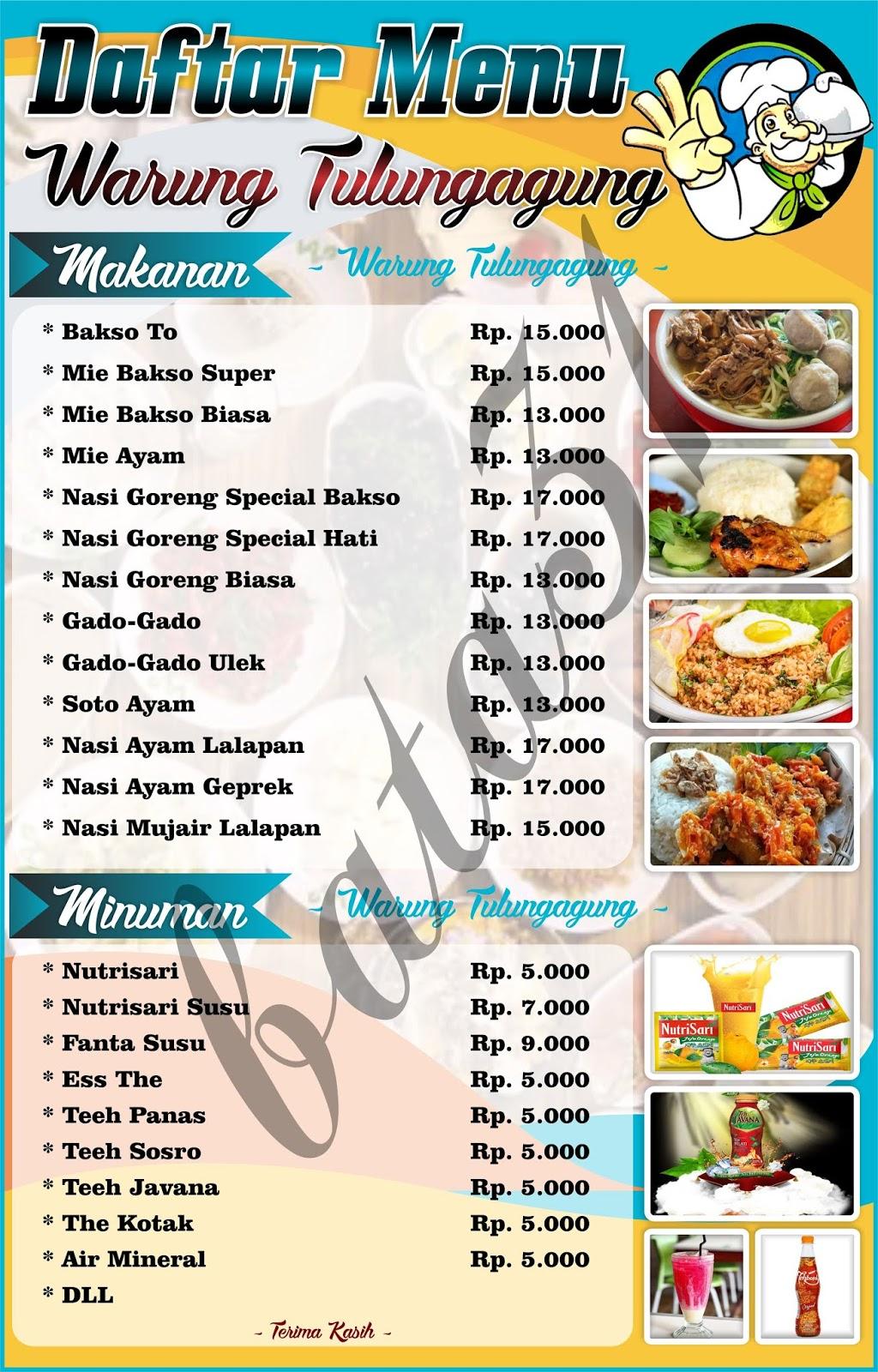 Batade 31 Gratis Download Daftar Menu Makanan Cdr