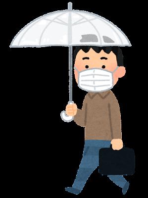 傘をさして歩く人のイラスト(男性・マスク)