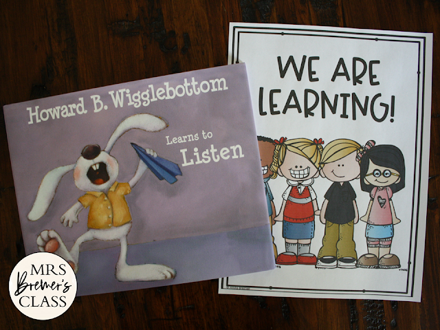 Howard B Wigglebottom Learns to Listen book study activities unit with Common Core aligned literacy companion activities, class book & craftivity for Kindergarten and First Grade