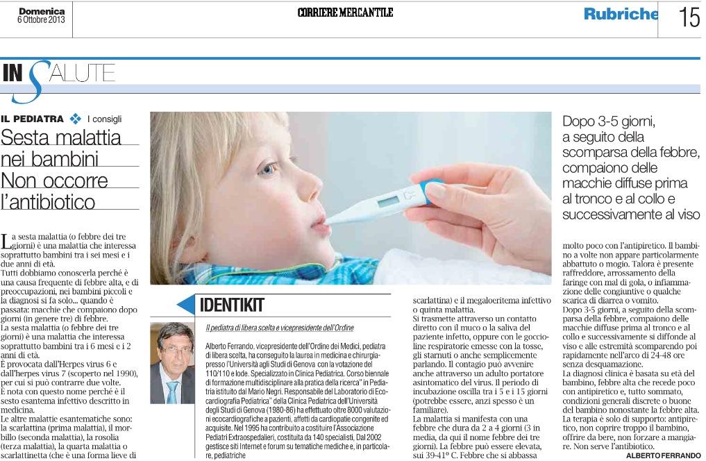 Il dottor Ferrando Alberto: Sesta malattia o febbre dei tre giorni