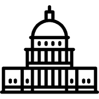 Black and white icon of the US capitol