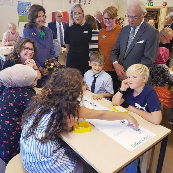 Queen Silvia at anniversary of the Lessebo Paper Mill at Hackebacke School