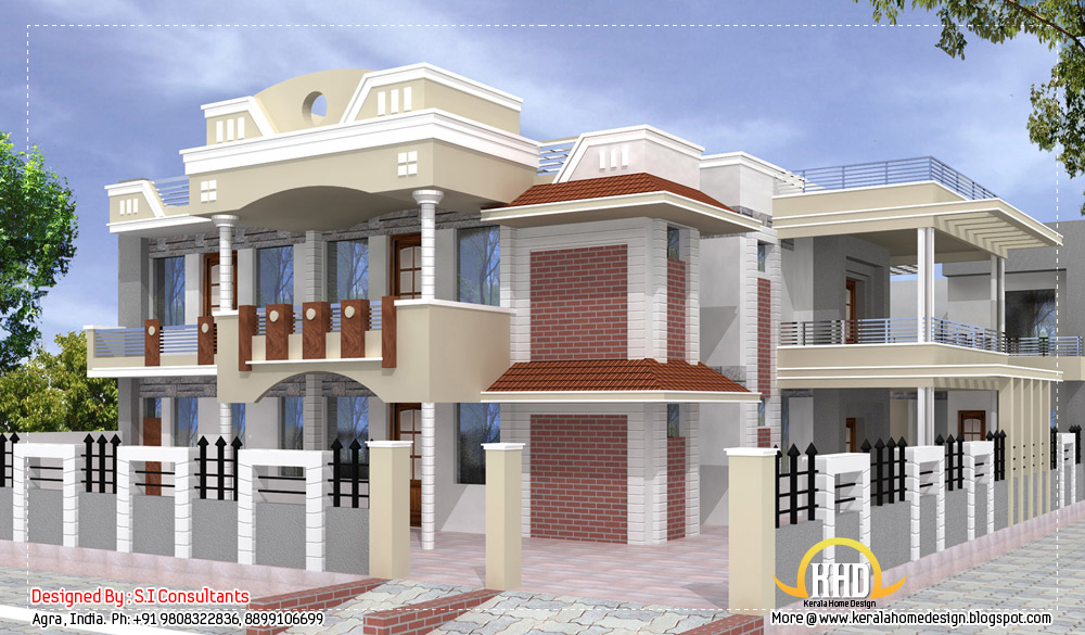 Indian home design with plan 5100 sq ft indian home for Home front design indian style
