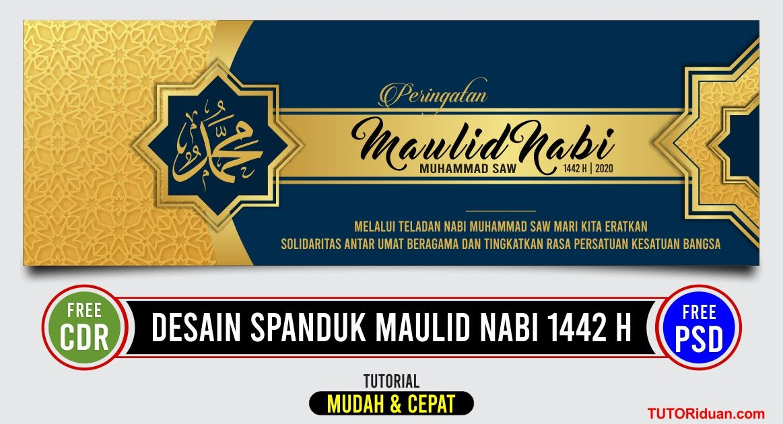 Desain Spanduk Maulid Nabi 1442 H (Free CDR & Free PSD) - TUTORiduan.com