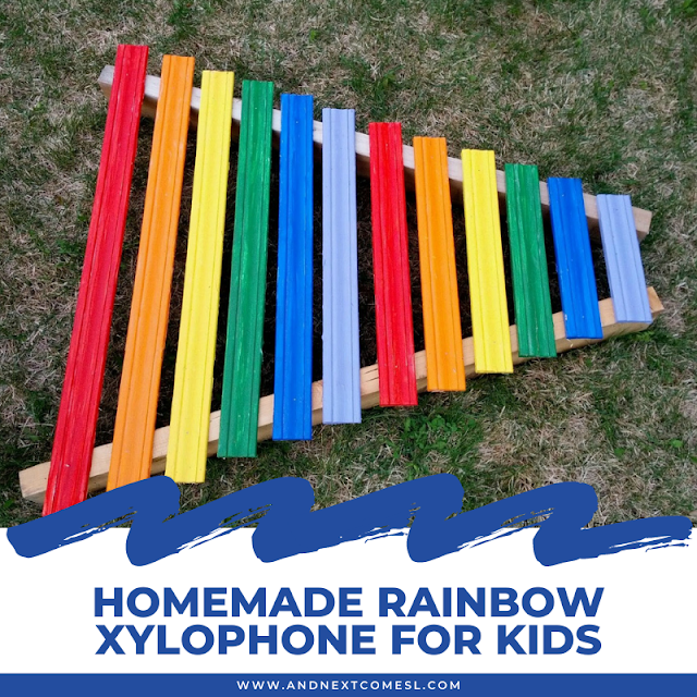 How to make a homemade xylophone for kids that's rainbow colored