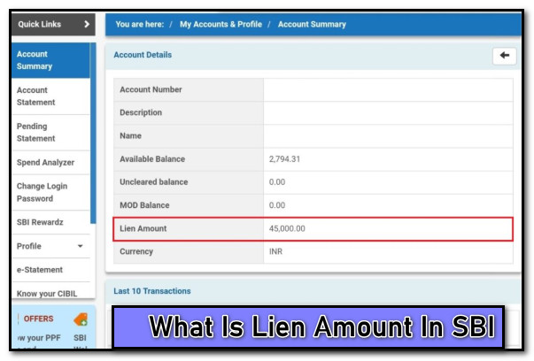 What is Lien Amount in SBI Account - How to Clear Lien Amount