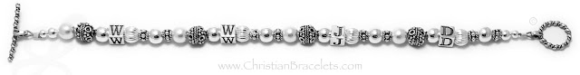 Pearl and Sterling Silver WWJD Bracelet