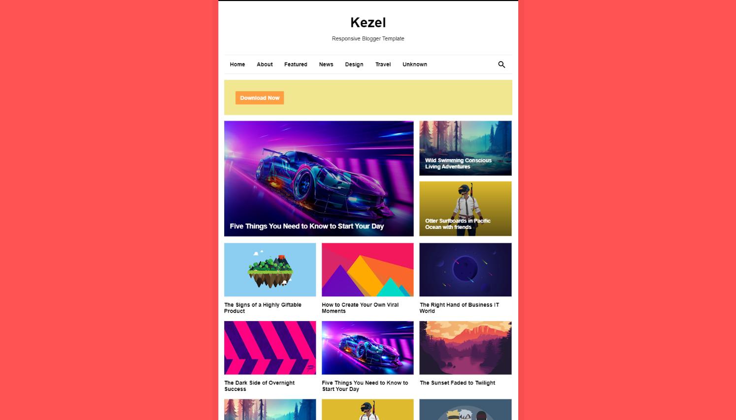 Kezel Pro Responsive Blogger Template