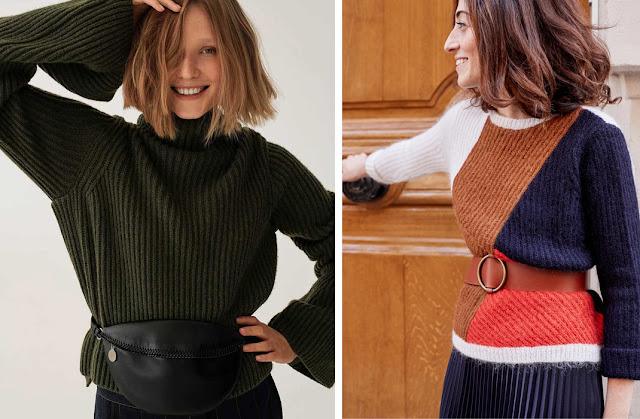 Черный и разноцветный свитер с широким ремнем и поясной сумкой
