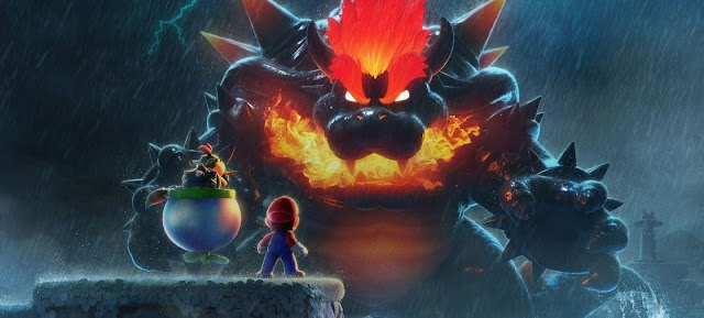 The battle between giant Mario and Bowser in the Super Mario 3D World + Bowser's Fury trailer