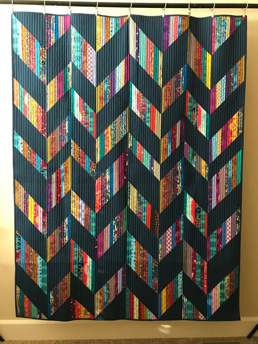 Scrappy Strippy Chevron Quilt designed by Susan Smith of Stitched by Susan for Confessions of a Fabric Addict