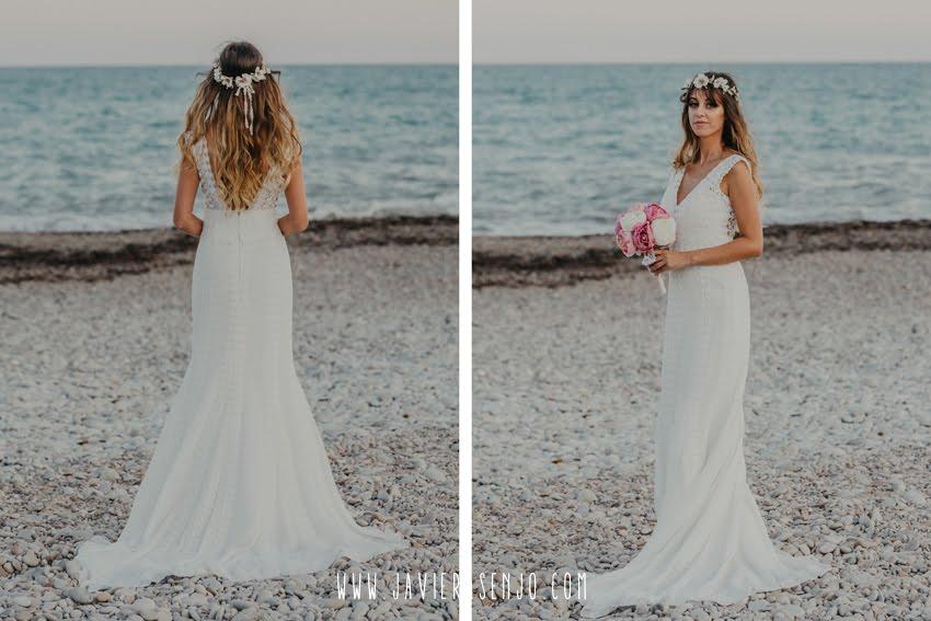 novia en la playa vestido ibicenco