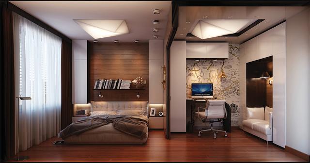 Phòng ngủ có không gian làm việc rộng rãi.