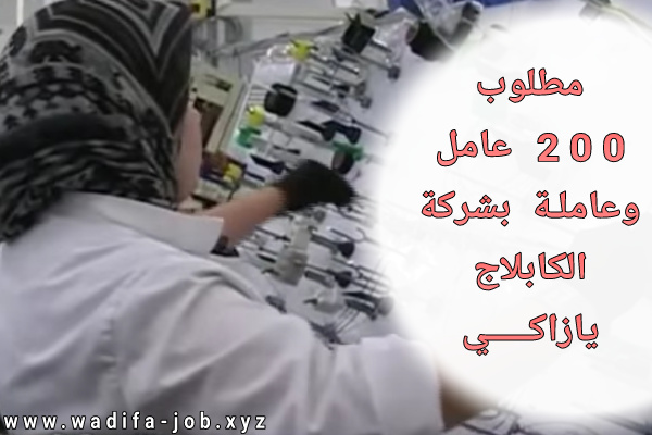 العمل في شركة الكابلاج يازاكي ..مطلوب 200 عامل وعاملة براتب 2828.71 درهم