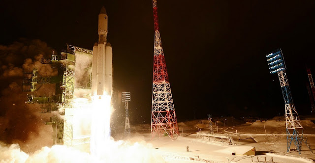 A Russian heavy-lift rocket, the Angara A5, lifts off from the Plesetsk Cosmodrome in Russia on Dec. 23, 2014. Photo Credit: Russian Ministry of Defense.