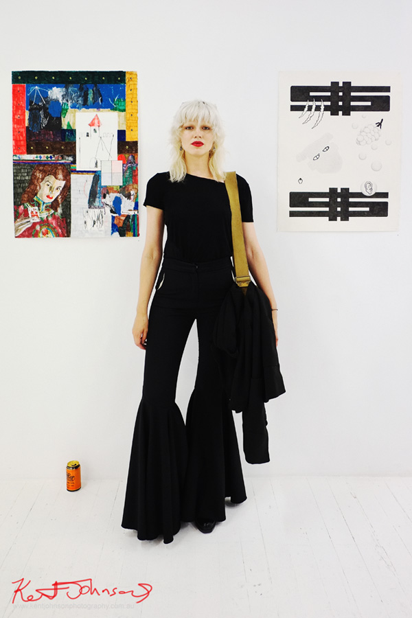 Model Alys Hale wearing ruched black flares at China Heights gallery, Sydney, Australia. Photographed by Kent Johnson.