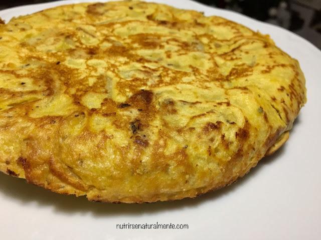 Exterior de la tortilla española vegana