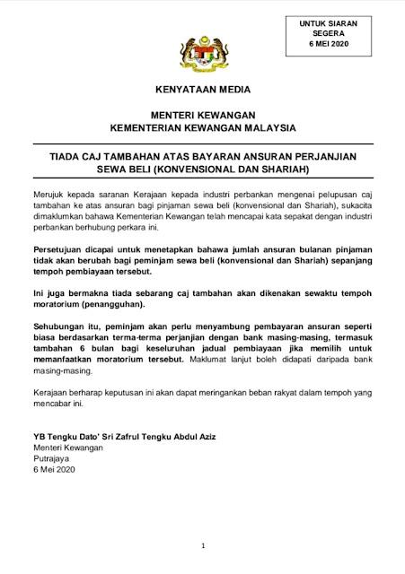 Kenyataan media Menteri Kewangan Malaysia bertarikh 6 Mei 2020