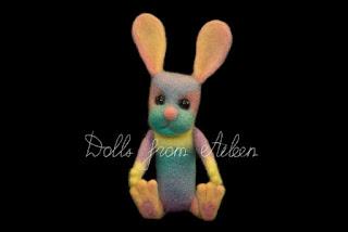ooak needle felted rainbow bunny rabbit
