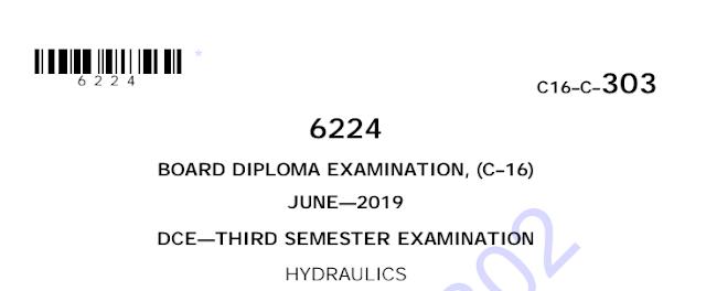 Sbtet Previous Question Paper c16 civil 303 Hydraulics June 2019Sbtet Previous Question Paper c16 civil 303 Hydraulics June 2019