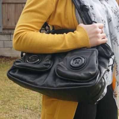 mustard cardigan with black mimco button bag | awayfromtheblue