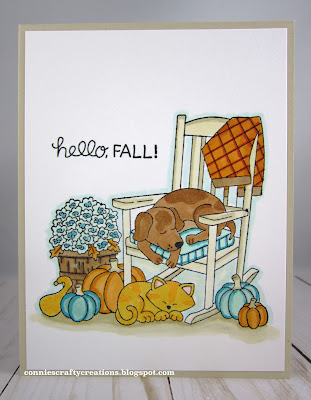 Hello fall by Connie features Fall Friends by Newton's Nook Designs; #inkypaws, #newtonsnook, #autumncards, #fallcards, #cardmaking