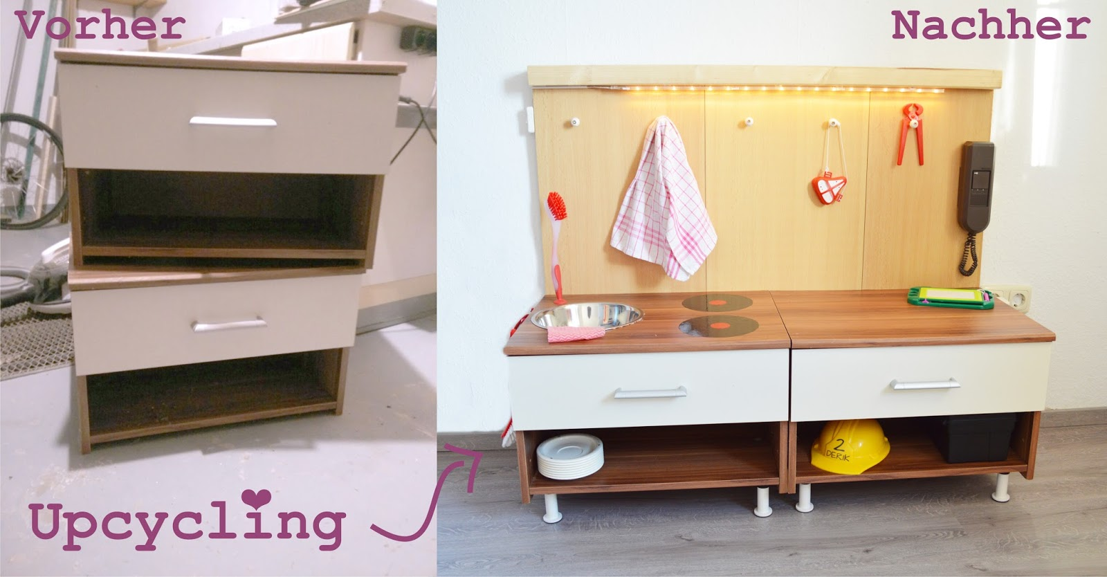 ideenwiese upcycling kinderk che werkbank. Black Bedroom Furniture Sets. Home Design Ideas
