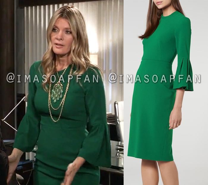 Nina Reeves, Michelle Stafford, Emerald Green Bell Sleeve Dress, General Hospital, GH