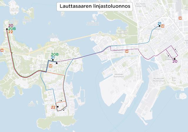 Lauttasaaren linjastoluonnoksen linjat. Linja 20 kulkee Katajaharjusta Isokaaren kautta Lauttasaaren metroasemalle ja siitä Ruoholahteen ja Punavuoreen. Linja 20B kulkee Katajaharjusta Isokaaren kautta Lauttasaaren metroasemalle. Linja 21 kulkee Lauttasaaren metroasemalta Vattuniemeen, josta Meripuistotietä pitkin Ruoholahteen ja Kampin terminaaliin. Linja 22 kulkee Katajaharjusta Isokaaren kautta Vattuniemeen.