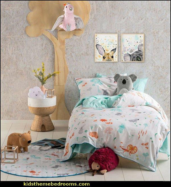 Aussie Friends Duvet Doona Quilt Cover Set australian animals wall art australian animals plush toys