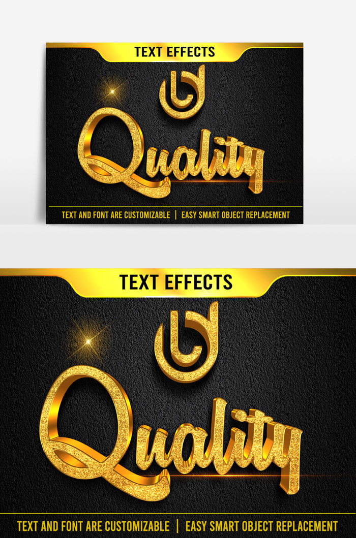 Quality Text Effect 3D Correction Psd Mockup Template