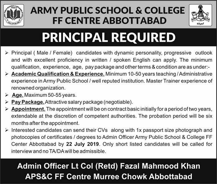 Principal Jobs in Army Public School And College 05 Jul 2019