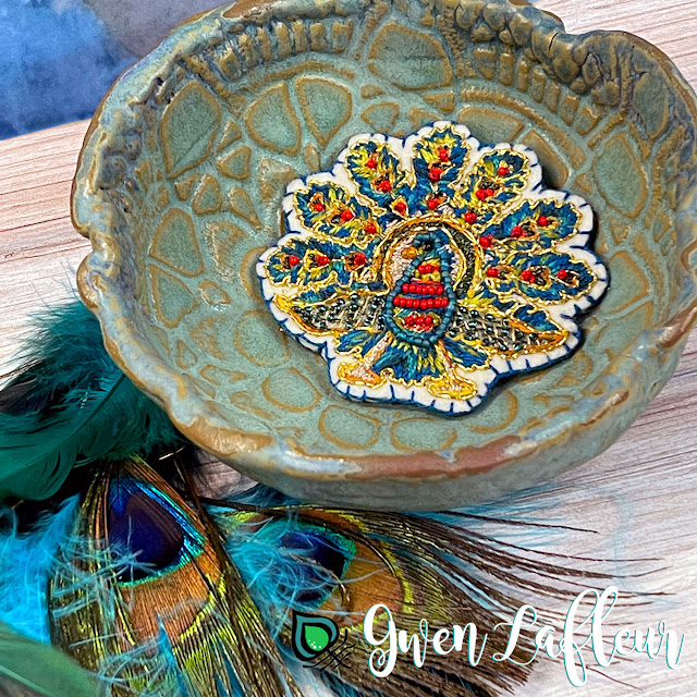 Gwen Lafleur PaperArtsy May 2021 Stamp Release - EGL18 Embroidered Peacock Brooch