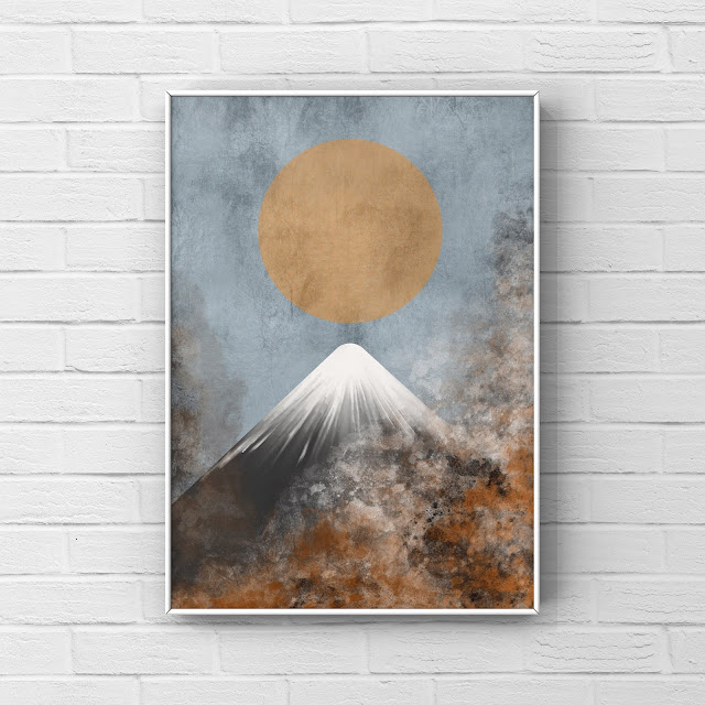 mountain abstract art with rust effect