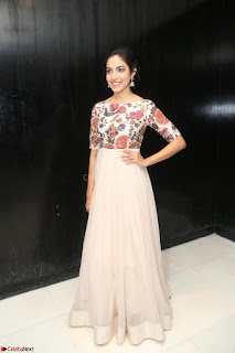 Ritu Varma smiling face Cream Anarkali dress at launch of OPPO New Selfie Camera F3 ~  Exclusive 003.JPG