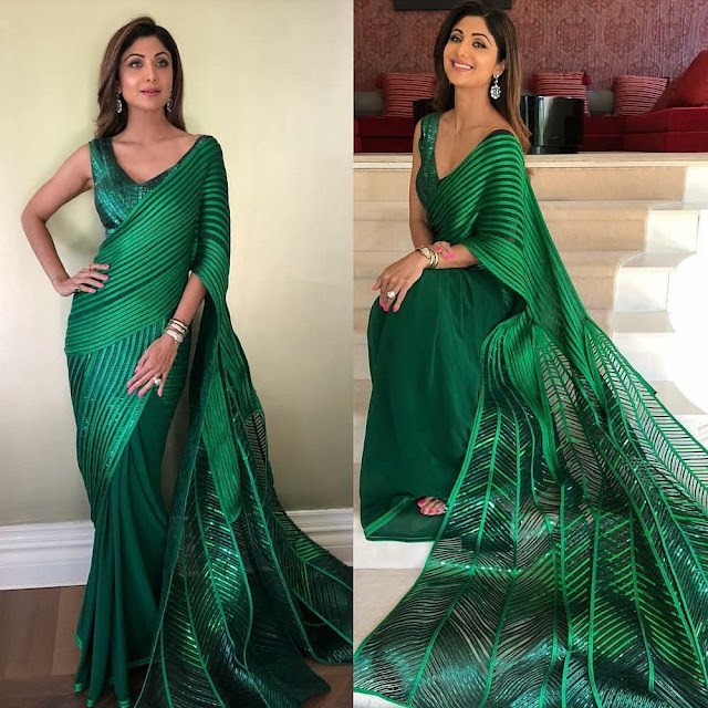 Shilpa Shetty in a Green Sari by Amit Aggarwal