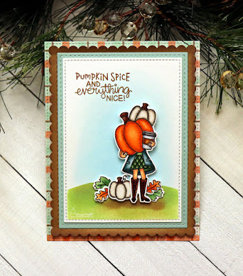 Pumpkin Spice by Larissa Heskett for Newton's Nook Designs  using  Pumpkin Latte, Frames & Flags, Hills & Grass Stencil #newtonsnook #pumpkinlatte #ilovefall