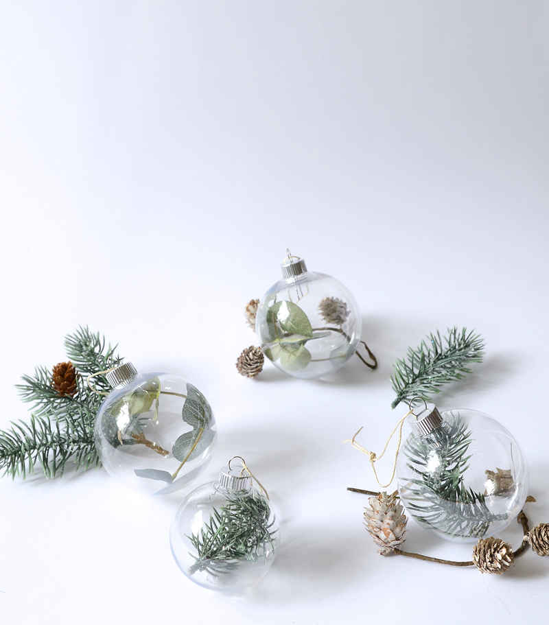 greenery filled christmas ornaments