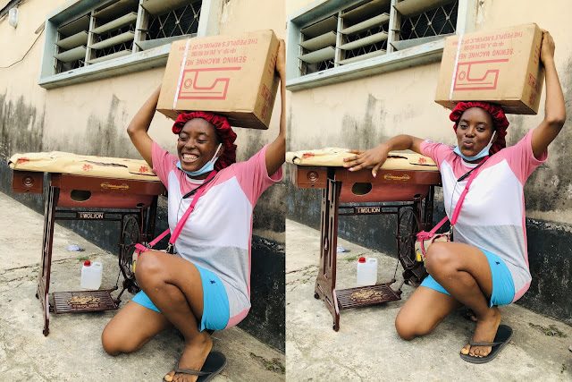 'My New Whip' Nigerian Lady Celebrates Her New Sewing Machine On Twitter