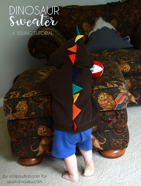 So easy! Dinosaur Sweatshirt tutorial out of an old sweatshirt!