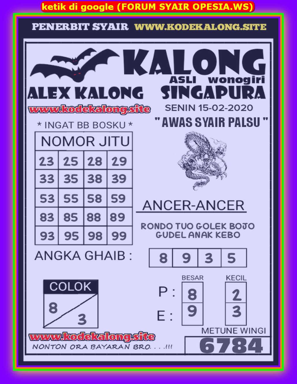 Kode syair Singapore Sabtu 15 Februari 2020 96